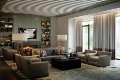 .Really like the curtains, and the seating for a large room.  TV area and visiting area