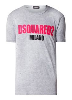 Milano T-shirt met logo flockprint Men Clothes, My T Shirt, New York Yankees, T Shirts, Dsquared2, Polo, Mens Tops, Fashion, Graphic Art