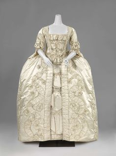 Robe à la française, c. 1760-1765. Cream silk satin, self-fabric trim, linen lining.
