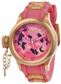 Invicta Women's 11352 Russian Diver Two Tone Pink Camouflage Dial Pink Polyurethane Watch Invicta. $298.50