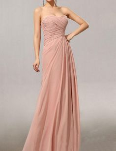 Mosky Pink Chiffon Bridesmaid Dress Floor di DaisyBridalHouse, $109,00