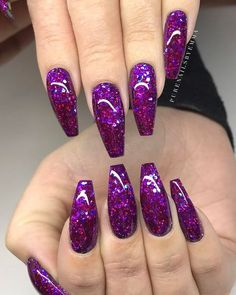 64 Trendy Purple Nail Art Designs and Ideas You Have to Try - Hair Styles Purple Nail Art, Purple Nail Designs, Winter Nail Designs, Acrylic Nail Designs, Nail Art Designs, Nails Design, Purple Nails With Glitter, Purple Sparkle, Purple Nails With Design