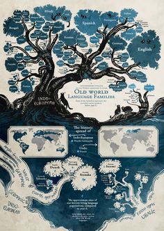 I like this map infographic because it uses a variety of maps to display information. There is the literal tree map that shows the different language families. Then the maps that show their geographic location. European Languages, World Languages, Learn Languages, World History, Family History, English Language, Language Arts, Danish Language, Language Development