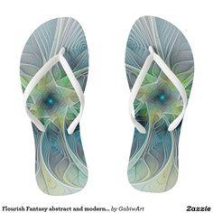 Flourish Fantasy abstract and modern Fractal Art Flip Flops