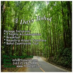 3 DAYS BOHOL Minimum of 2 persons  For more inquiries please call: Landline: (+63 2)282-6848 Mobile: (+63) 918-238-9506 or Email us: info@travelph.com #Bohol #Philippines #TravelPH #TravelWithNoWorries Bohol Philippines, Real Estate Development, Travel Companies, Travel Agency, Manila, Tour Guide, Countryside, Public, Country Roads