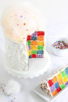 Lemony Rainbow Checkerboard Cake Recipe