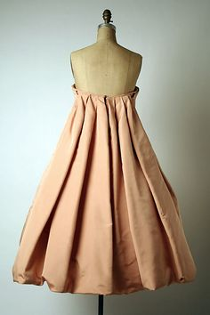 """1958 Dior YSL design  clearly inspired by the pleating on an 18th Century """"Robe a la Francaise"""""""