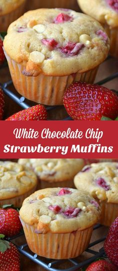 White Chocolate Chip Strawberry Muffins These Strawberry White Chocolate Chip Coffee Cake Muffins and soft, moist, and loaded with fresh strawberries and white chocolate chips. Chocolate Chip Cookies, White Chocolate Muffins, White Chocolate Strawberries, Chocolate Chip Recipes, White Chocolate Chips, Chocolate Brownies, Strawberry Muffin Recipes, Strawberry Coffee Cakes, Strawberry Muffins