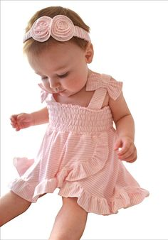 Bluebelle Baby Girls Freddy Pink Stripe Baby Dress and Bloomer Set