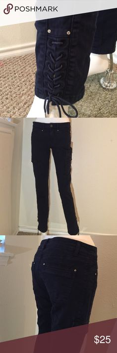 White House Black Market Pants Really cute navy cargo pants, tapered with ankle laces.  New w/out tags. White House Black Market Pants Ankle & Cropped