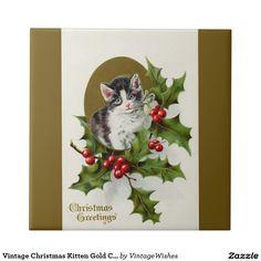 Vintage Christmas Kitten Gold Ceramic Tile