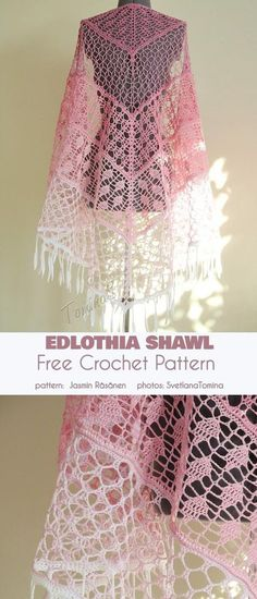 Ediothia Shawl Free Crochet Pattern von - - > Morben Design The Edlothia shawl is a beautiful, diaphanous and gauzy shoulder throw most evocative of a dragonfly wing. The delicate color gradient beautifully highlights the 'almost-not-there' Crochet Shawl Free, Crochet Shawls And Wraps, Crochet Stitches, Knit Crochet, Crochet Scarves, Free Lace Crochet Patterns, Crochet Bolero Pattern, Needlepoint Stitches, Crochet Crafts