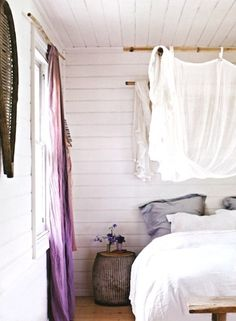 I really like the use of bamboo with the curtains : 66 Romantic And Tender Feminine Bedroom Design Ideas | DigsDigs
