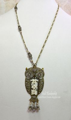 Crystal and Bronze Athena Owl Necklace.