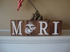 Personalized Marine Name Wood Sign, Marine Corps, USMC Marines Home Decor, Wood Blocks, Wood Stackers, Rustic Decor, Stained Blocks by DeannasCraftCottage on Etsy