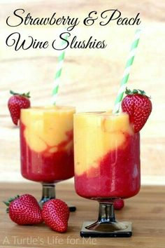 Strawberry & Peach Wine Slushies. Yum! ❤-M Recipe:http://www.aturtleslifeforme.com/2016/02/strawberry-and-peach-wine-slushies.html