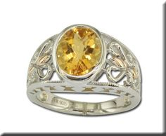 Sterling Silver /14K Rose Gold Citrine Ring