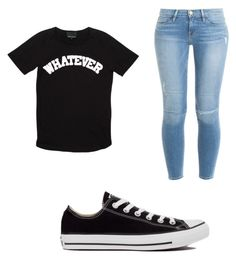 Casual Back To School Outfit by jaida-neal on Polyvore featuring polyvore, fashion, style, Cynthia Rowley, Frame Denim and Converse