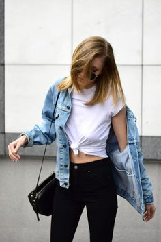 $10 Smart ASOS The Ultimate Crew Neck T-Shirt Teamed With $40 ASOS High Waist Skinny Jeans In Clean Black and $215 Classic Levi's Denim Jacket Pull Off 90's Look Perfectly.