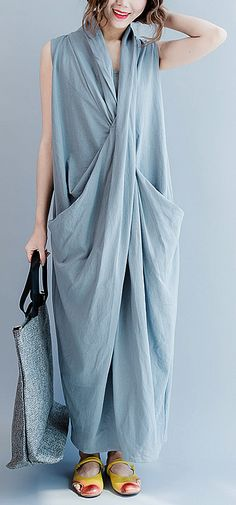 Gray cross bust cotton summer dresses oversize long maxi dress gown caual traveling dress