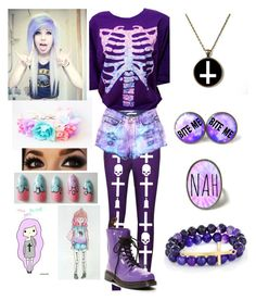 """Pastel Goth"" by alexdacko ❤ liked on Polyvore featuring Dr. Martens, West Coast Jewelry, women's clothing, women, female, woman, misses and juniors"