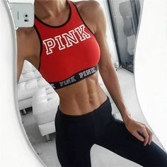 $9.99 - Red Letters Women Tank Crop Top Bra Vest Sports For Training Running Gym Yoga #ebay #Fashion