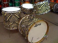 1950's Leedy & Ludwig drum kit in the extremely rare and uncatalogued finish Zebra wrap finish.