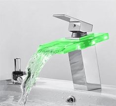 LED Temperature Color Changing Faucet – Warmly Bathroom Design Inspiration, Bathroom Interior Design, White Bathroom Tiles, Bathroom Faucets, Toilet Accessories, Single Handle Bathroom Faucet, Glass Sink, Water Faucet, Crackle Glass