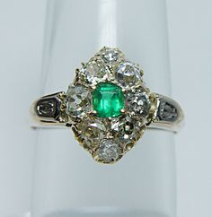 Antique emerald and mine cut diamonds