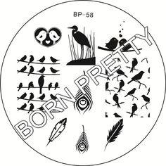 $2.39 Cute Birds Feather Nail Art Stamping Template Image Plate BORN PRETTY BP58 - BornPrettyStore.com