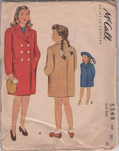 MOMSPatterns Vintage Sewing Patterns - McCall's 5348 Vintage 40's Sewing Pattern JAUNTY Young Girls WW2 Era Double Breasted Pea Coat, Winter Jacket Set Size 10