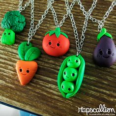 Happy Kawaii Vegetable Necklace by rapscalliondesign on Etsy, $14.59