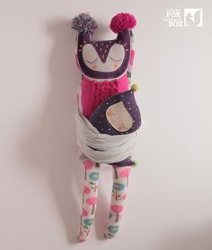 Lila Stuffed Reclaimed Fabric Doll by WhiteFoxInBlackBox on Etsy