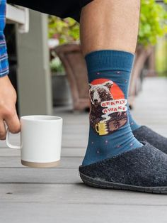 Coffee Socks for Men | Bearly Awake | The Sock Drawer Man Humor, Mens Fitness, Drawer, High Top Sneakers, Socks, Coffee, Kaffee, Drawers, Sock