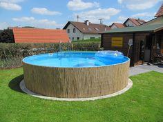 frame pool above ground pool pool transformation bambusmatten als pool verkleidung gartenideen
