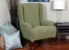 Montgomery II Sage Wing Chair Slipcover. Deeply embossed box pattern with a soft luscious surface. form fitting upholstery. Rrenovation, beautiful interior design, chic home decor.