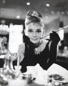ff4e104cebf7 Film posters - Audrey Hepburn posters - Audrey Hepburn Breakfast At Tiffanys  poster featuring the famous image from Breakfast At Tiffanys with Audrey ...