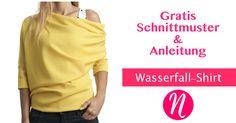 Shirt im Wasserfall-Look zum selber nähen. Freebook und Anleitung für Größe S - XL ✂ Jetzt Nähtalente.de besuchen - Magazin für kostenlose Schnittmuster ✂