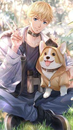 My dream boy with my corgi(dog) anime art girl, cute anime boy Hot Anime Boy, Cool Anime Guys, Handsome Anime Guys, Anime Boys, Anime Naruto, Manga Anime, Kawaii Anime, Anime Boy Zeichnung, Desenhos Love