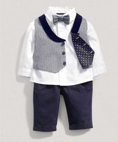 Boys Welcome to the World Four Piece Waistcoat Set - Special Occasion & Christening - Mamas & Papas