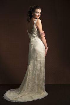 La Poésie Bridal Isabelle Chantilly Lace deep V button back Wedding Dress worn with Simone Silk Satin Dress// www.lapoesie.co.uk