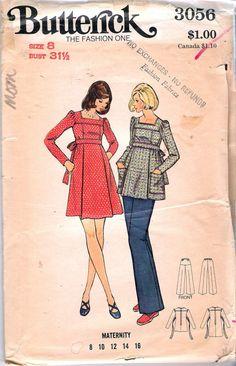 fa16b2bfac40b Vintage 1970's Butterick 3056 Maternity Dress Tunic & Maternity  Dresses, Maternity Fashion, Maternity