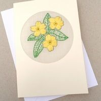A padded embroidered Primrose card for February Birthday. This is an alternative to the violet card. It is blank for your own words, and stitched on Irish Linen. February Birthday, Cross Stitch Cards, Valentines Day, Easter, Mothers, Embroidery, Sewing, Floral, Handmade