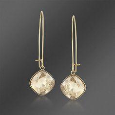 "Swarovski Crystal ""Thankful"" Golden Shadow Crystal Drop Earrings"