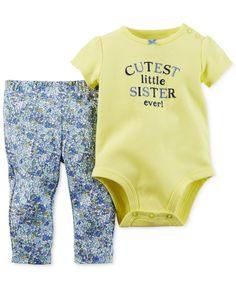 Carter's Baby Girls' 2-Piece Little Sister Bodysuit & Pants Set