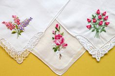 Vintage White Handkerchiefs Roses Garden by VintageToLiveBy