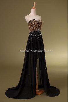 2014 Custom Strapless Sleeveless Gold Sequins & Black Chiffon Hi-Lo Bridesmaid /Homecoming /Prom / Evening /Party / Formal Dress