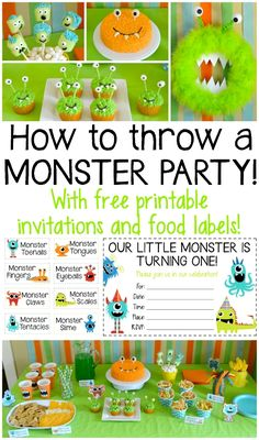 Like the food labels Everything you need to throw an awesome monster party! Perfect for a kids birthday! Includes free printables for food labels and invitations Little Monster Birthday, Monster 1st Birthdays, Monster Birthday Parties, Birthday Fun, First Birthday Parties, First Birthdays, Monster Birthday Invitations, Easy Diy 1st Birthday Party Ideas, Monster Party Invites