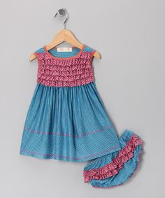 Take a look at this Blue Ruffle Dress & Diaper Cover - Infant by Love Loves Luv on #zulily today!