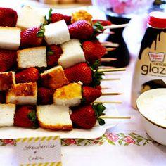 Angel food cake & strawberry skewers....good idea for wedding shower snacks :)